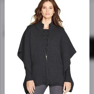 WHBM Sweater Cape w Zip Front & Side Pockets